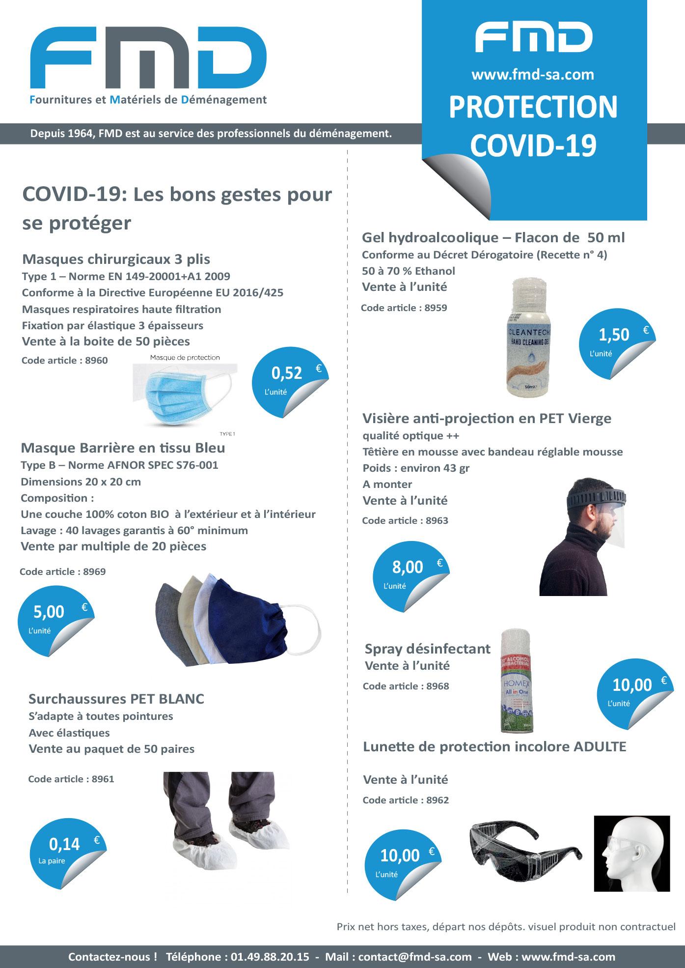 Fiche produits protection Covid-19